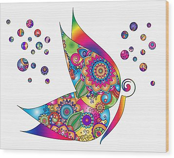 Abstract Colorful Butterfly Wood Print by Serena King