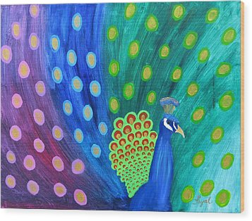 Abstract Colorful Peacock Wood Print