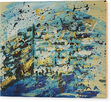 Abstract Contemporary Western Wall Kotel Prayer Painting With Splatters In Blue Gold Black Yellow Wood Print