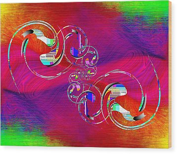 Wood Print featuring the digital art Abstract Cubed 360 by Tim Allen