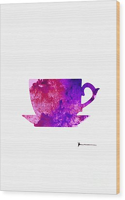 Abstract Cup Of Tea Silhouette Wood Print by Joanna Szmerdt