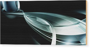 Abstract Curved Lines, Leaf Shape Wood Print by Ralf Hiemisch