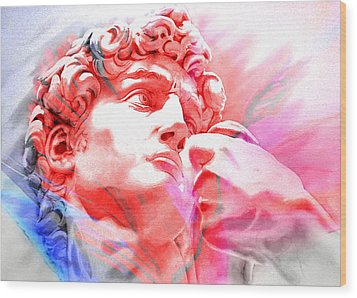 Wood Print featuring the painting Abstract David Michelangelo 1 by J- J- Espinoza