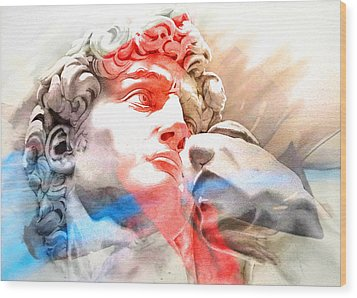Wood Print featuring the painting Abstract David Michelangelo 2 by J- J- Espinoza