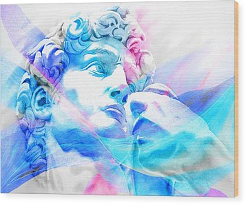 Wood Print featuring the painting Abstract David Michelangelo 3 by J- J- Espinoza