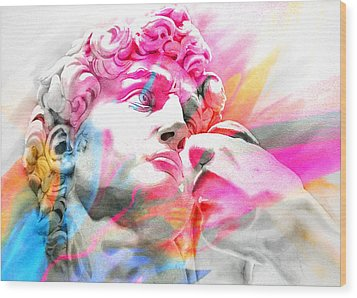 Wood Print featuring the painting Abstract David Michelangelo 5 by J- J- Espinoza