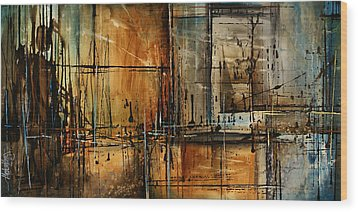 Abstract Design 76 Wood Print by Michael Lang