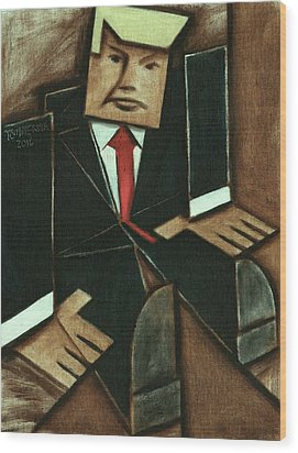 Wood Print featuring the painting Tommervik Abstract Donald Trump Art Print by Tommervik