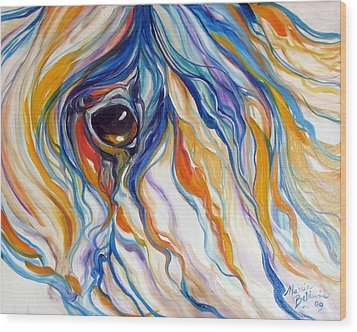 Abstract Equine Eye 1 Sold Wood Print by Marcia Baldwin