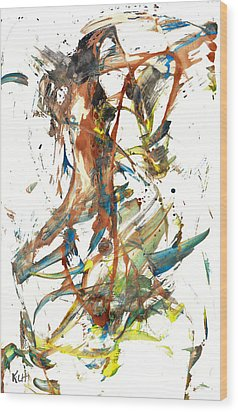 Wood Print featuring the painting Abstract Expressionism Painting Series 1039.050812 by Kris Haas