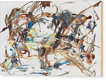Wood Print featuring the painting Abstract Expressionism Painting Series 1042.050812 by Kris Haas