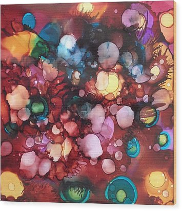 Abstract Floral Wood Print by Suzanne Canner