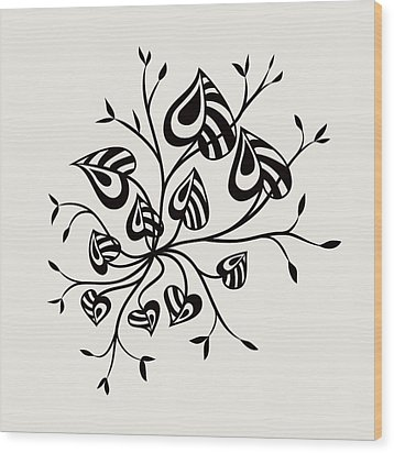 Abstract Floral With Pointy Leaves In Black And White Wood Print