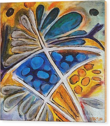 Wood Print featuring the painting Abstract Flower by Dragica  Micki Fortuna