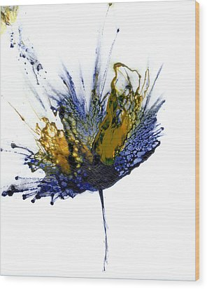 Abstract Flower Navy Blue Yellow 1 Wood Print by Catherine Jeltes