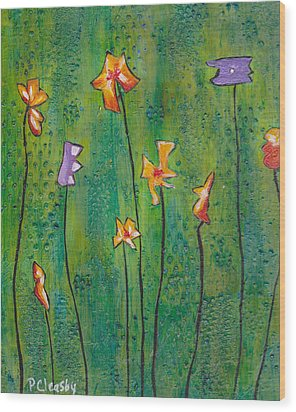 Abstract Flowers Orange, Purple Wood Print