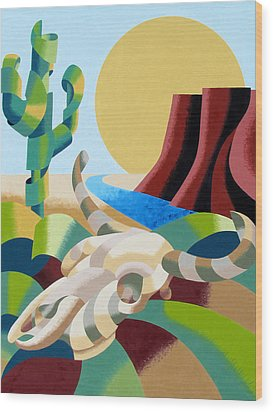 Abstract Futurist Soutwestern Desert Landscape Oil Painting  Wood Print