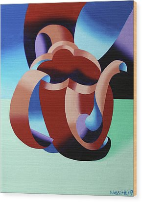 Abstract Futurist Teapot Wood Print by Mark Webster