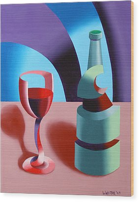 Wood Print featuring the painting Abstract Futurist Wine And Glass Still Life Oil Painting by Mark Webster