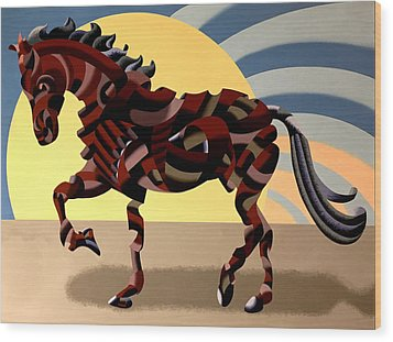 Wood Print featuring the painting Abstract Geometric Futurist Horse by Mark Webster