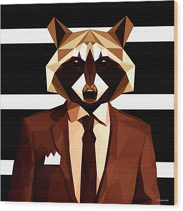 Abstract Geometric Raccoon Wood Print by Gallini Design