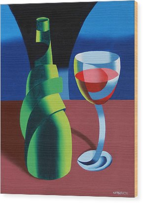 Abstract Geometric Wine Glass And Bottle Wood Print