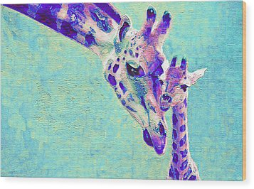 Abstract Giraffes Wood Print