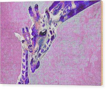 Abstract Giraffes2 Wood Print by Jane Schnetlage