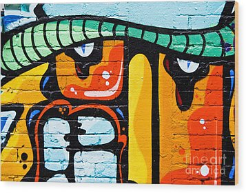 Wood Print featuring the painting Abstract Graffiti Face by Yurix Sardinelly