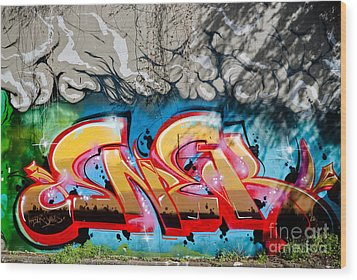 Abstract Graffiti Fragment On The Textured Wall Wood Print by Yurix Sardinelly