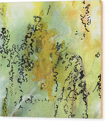Wood Print featuring the painting Abstract Green And Yellow  by Ginette Callaway
