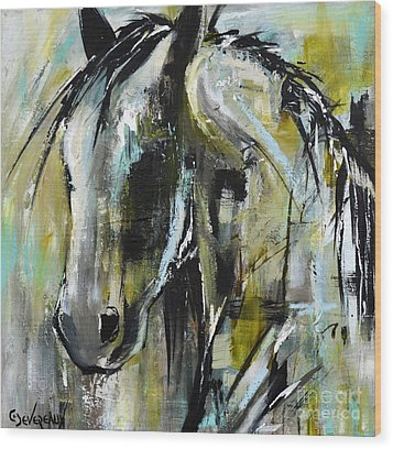 Wood Print featuring the painting Abstract Green Horse by Cher Devereaux