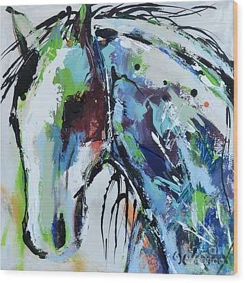 Wood Print featuring the painting Abstract Horse 18 by Cher Devereaux