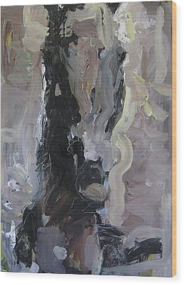 Abstract Horse Painting Wood Print by Robert Joyner