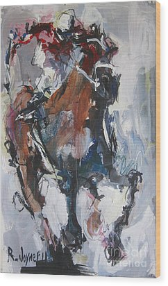 Wood Print featuring the painting Abstract Horse Racing Painting by Robert Joyner