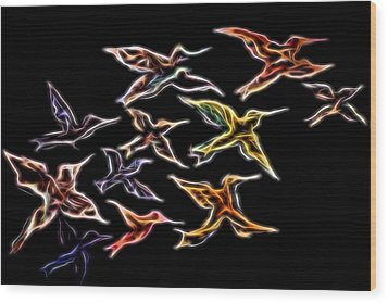 Abstract Hummingbirds Wood Print