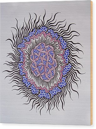 Wood Print featuring the drawing Abstract In Blue And Magenta by Beth Akerman