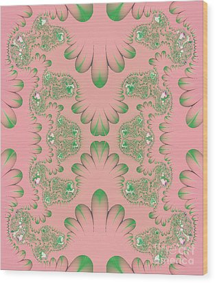 Wood Print featuring the digital art Abstract In Pink And Green by Linda Phelps