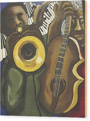 Abstract Jazz Duo Wood Print by Renie Britenbucher