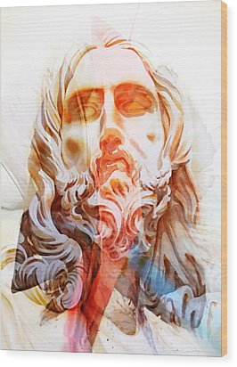 Wood Print featuring the painting Abstract Jesus 2 by J- J- Espinoza