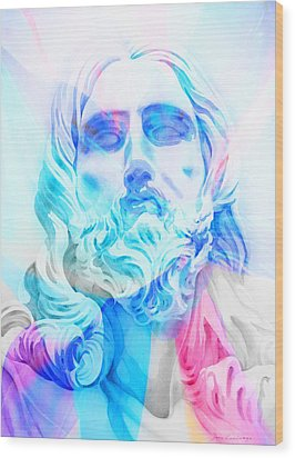 Wood Print featuring the painting Abstract Jesus 3 by J- J- Espinoza