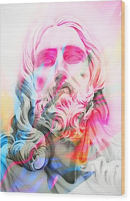 Wood Print featuring the painting Abstract Jesus 4 by J- J- Espinoza