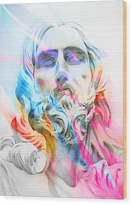 Wood Print featuring the painting Abstract Jesus 5 by J- J- Espinoza