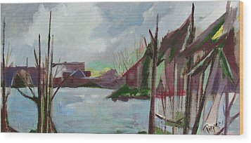 Wood Print featuring the painting Abstract Landscape by Betty Pieper