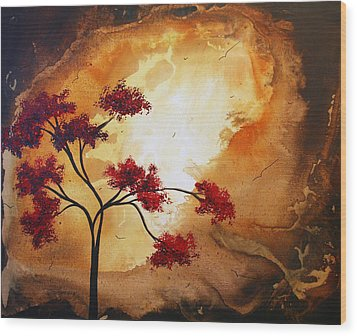 Abstract Landscape Painting Empty Nest 12 By Madart Wood Print by Megan Duncanson