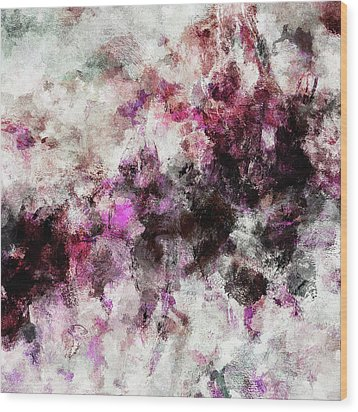 Wood Print featuring the painting Abstract Landscape Painting In Purple And Pink Tones by Ayse Deniz