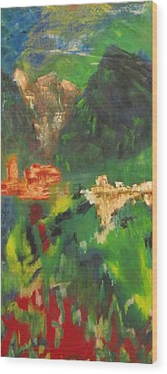 Wood Print featuring the painting Abstract Landscape by Patricia Cleasby