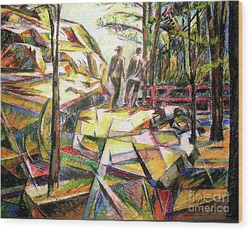 Abstract Landscape With People Wood Print