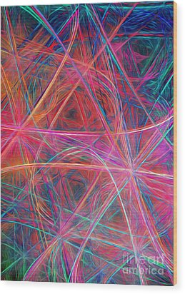 Wood Print featuring the digital art Abstract Light Show by Andee Design