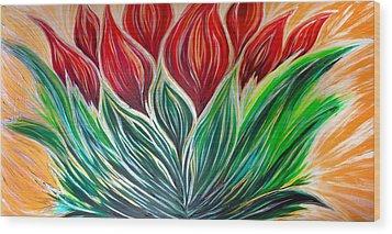 Abstract Lotus Wood Print